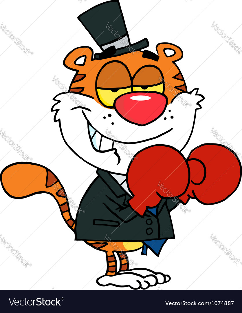 Happy tiger with boxing gloves vector