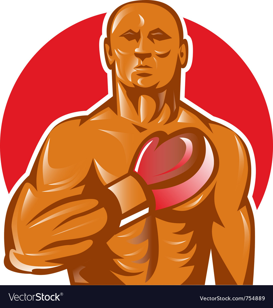 Boxer with boxing gloves hand chest vector