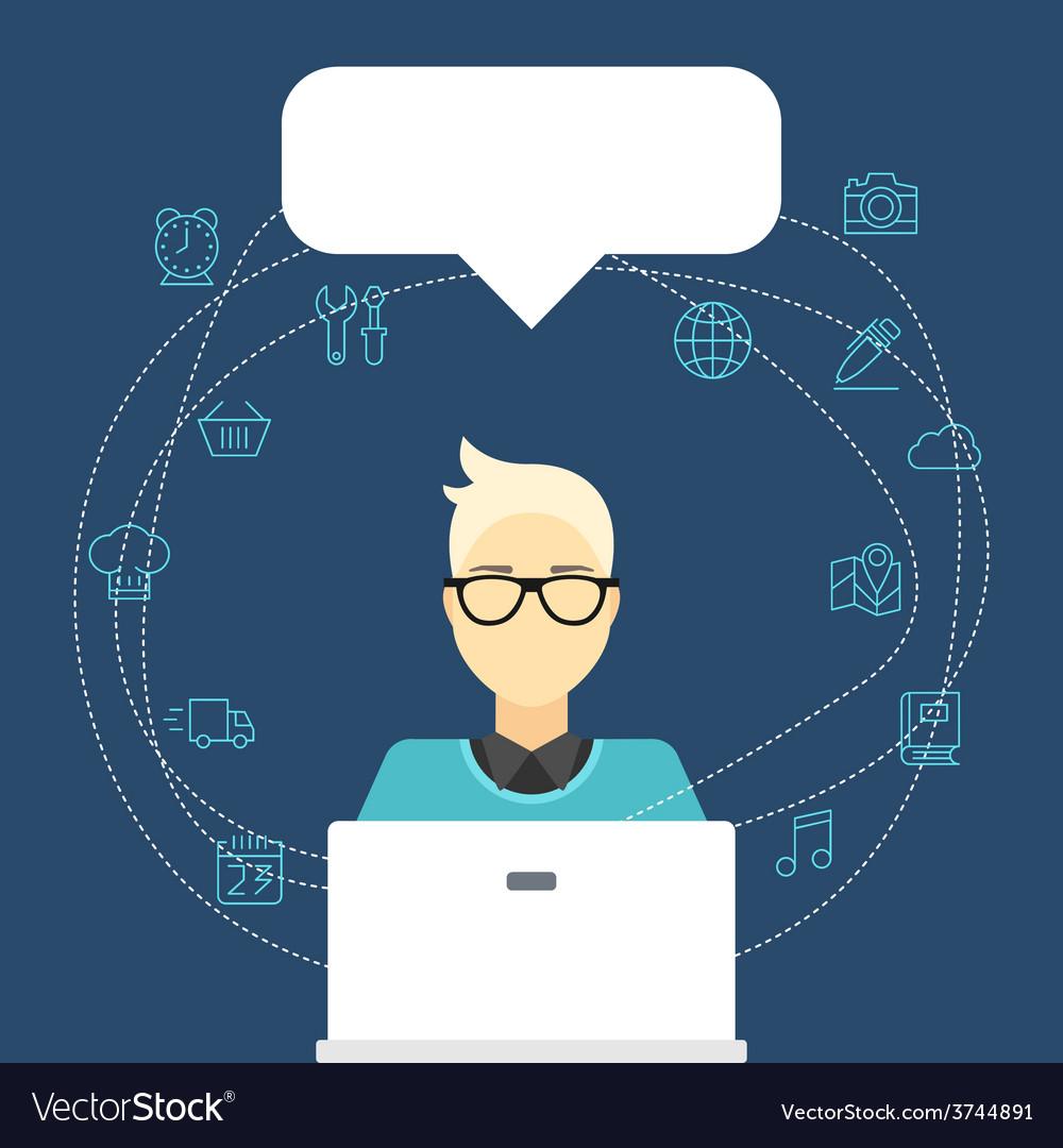 Flat internet concept man with computer an vector
