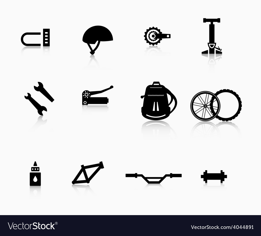 Various components and accessories for the bike vector