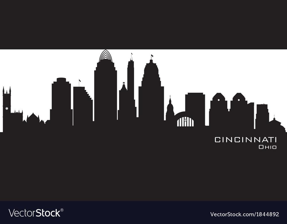 Cincinnati ohio skyline detailed silhouette vector
