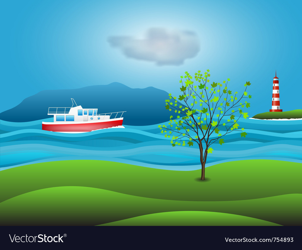 Yacht background vector
