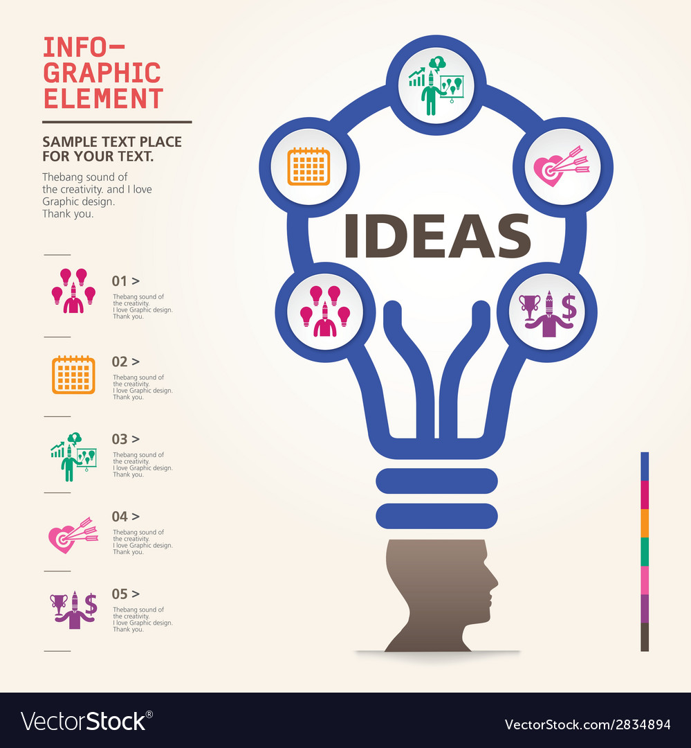 Bulb icon with idea concept info graphic vector