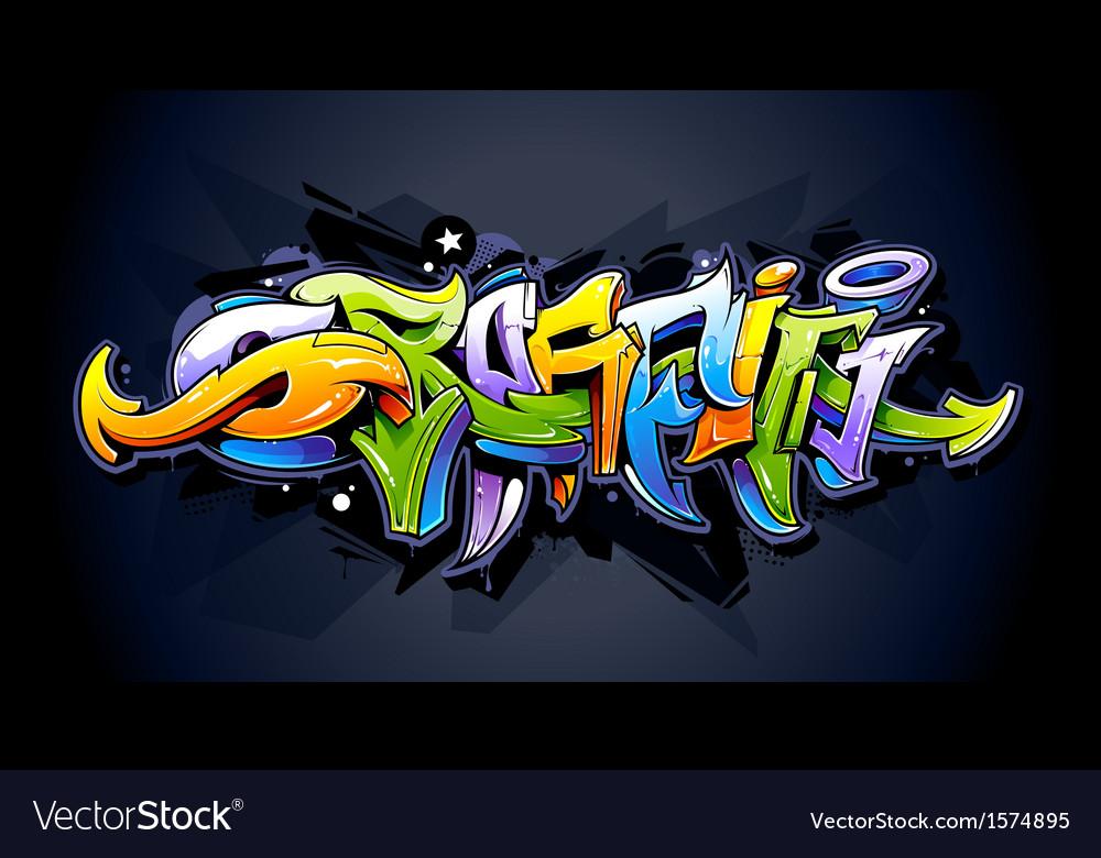 Bright graffiti lettering vector