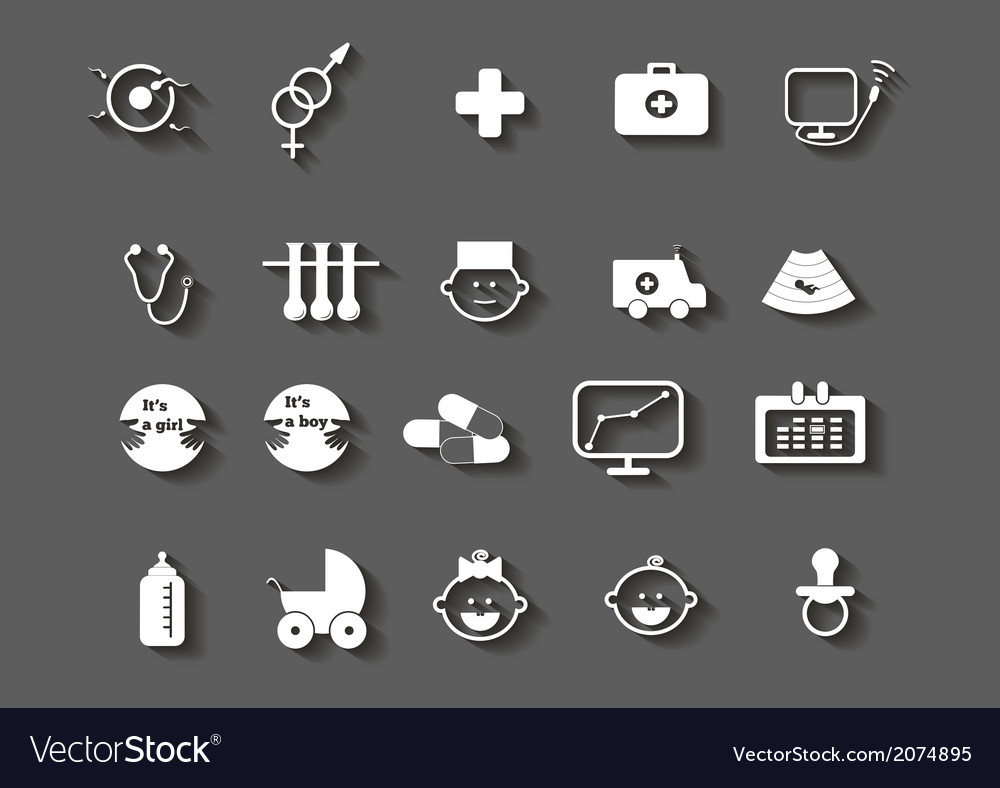 Set of healthcare medical woman pregnancy icons vector