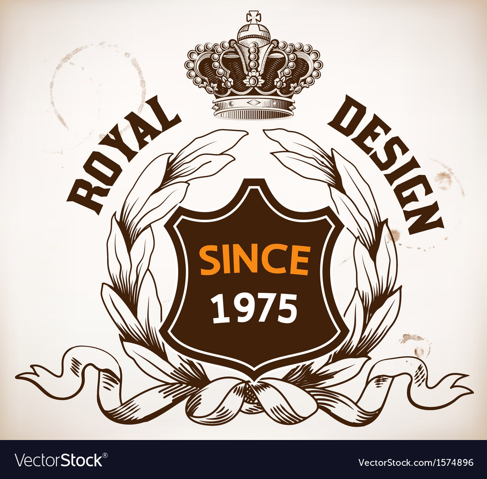 Royal design heraldic details crown and shield vector