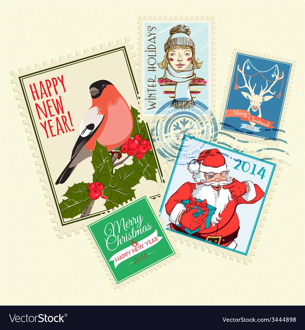 Set of christmas postal stamps vector