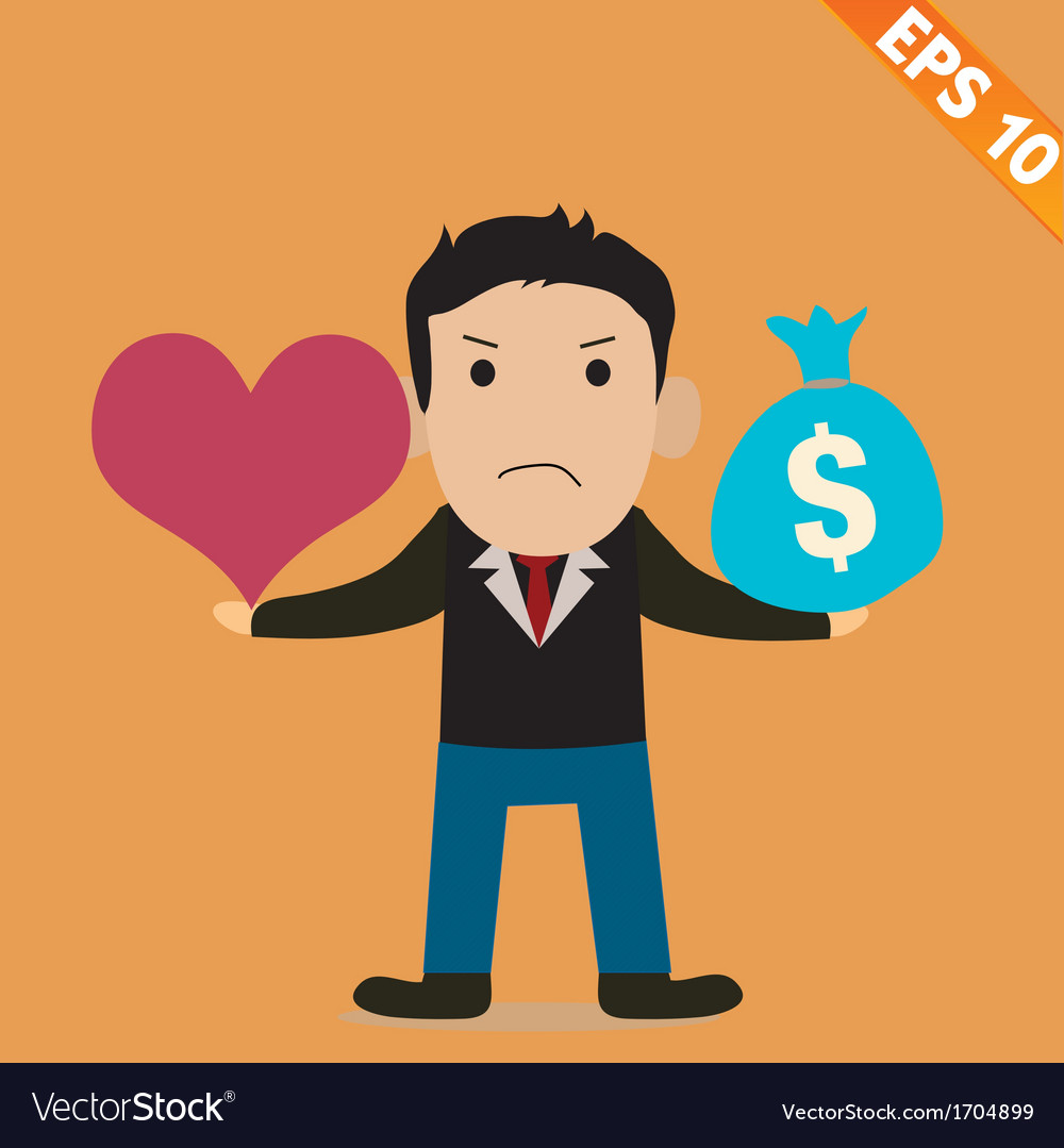 Cartoon businessman with love and money - - vector