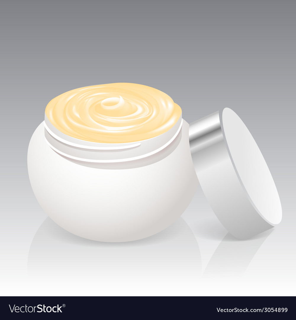 Facial cream jar isolated on a white background vector