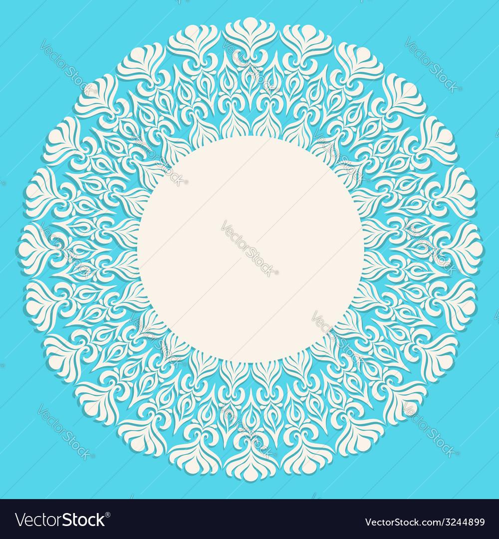 Round beige ornament frame on blue background vector
