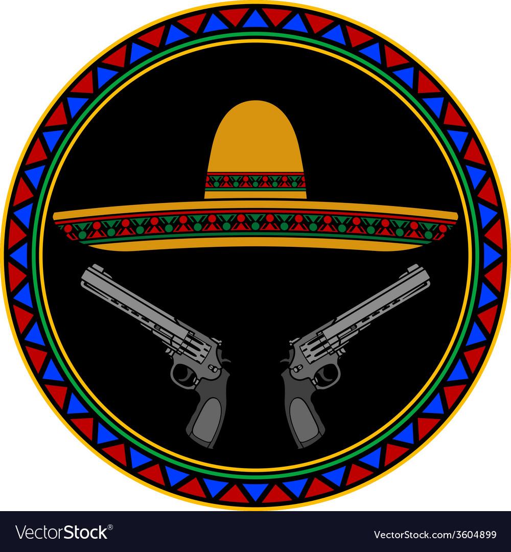 Sombrero and two pistols vector
