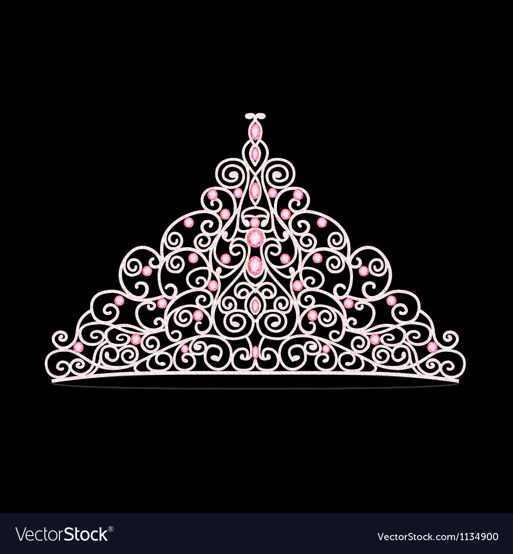 Womens tiara crown wedding with pink stones vector
