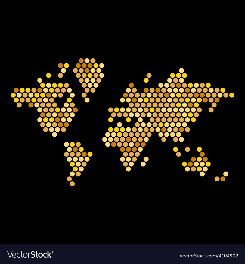Dotted gold colors world map isolated on black vector