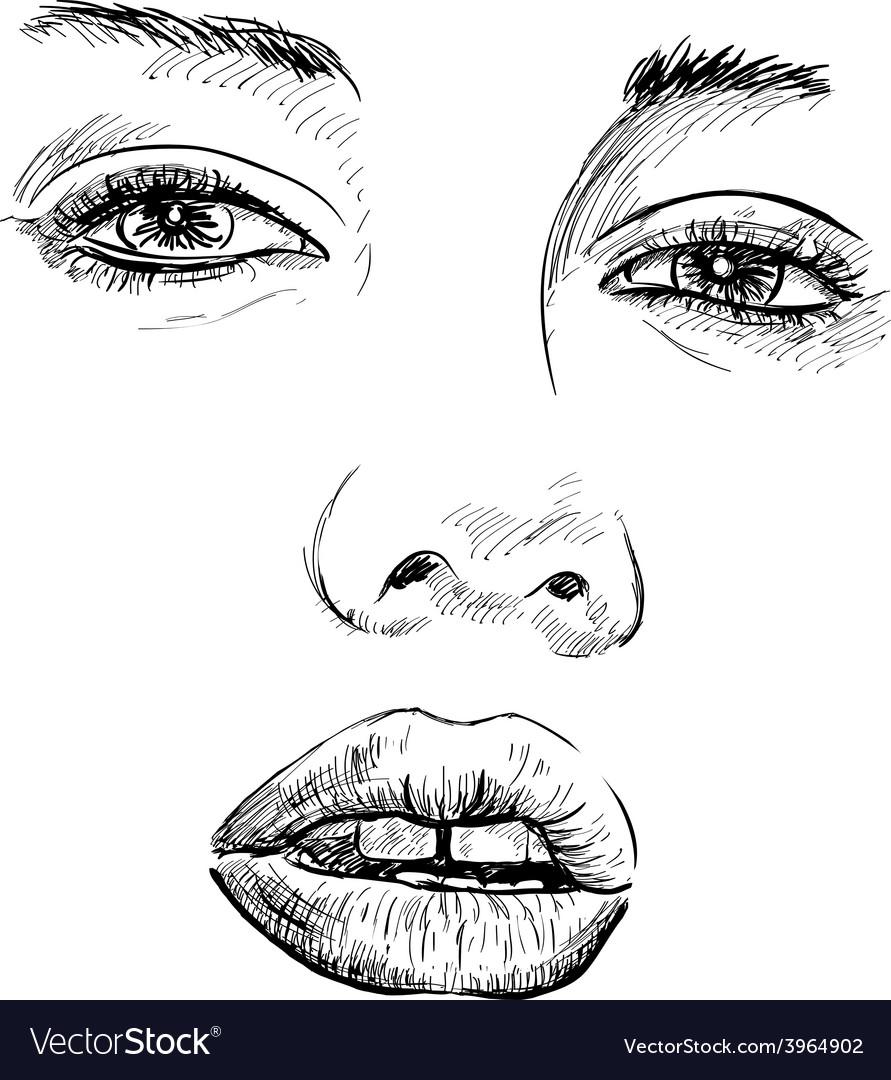 Hand-drawn fashion model portrait vector