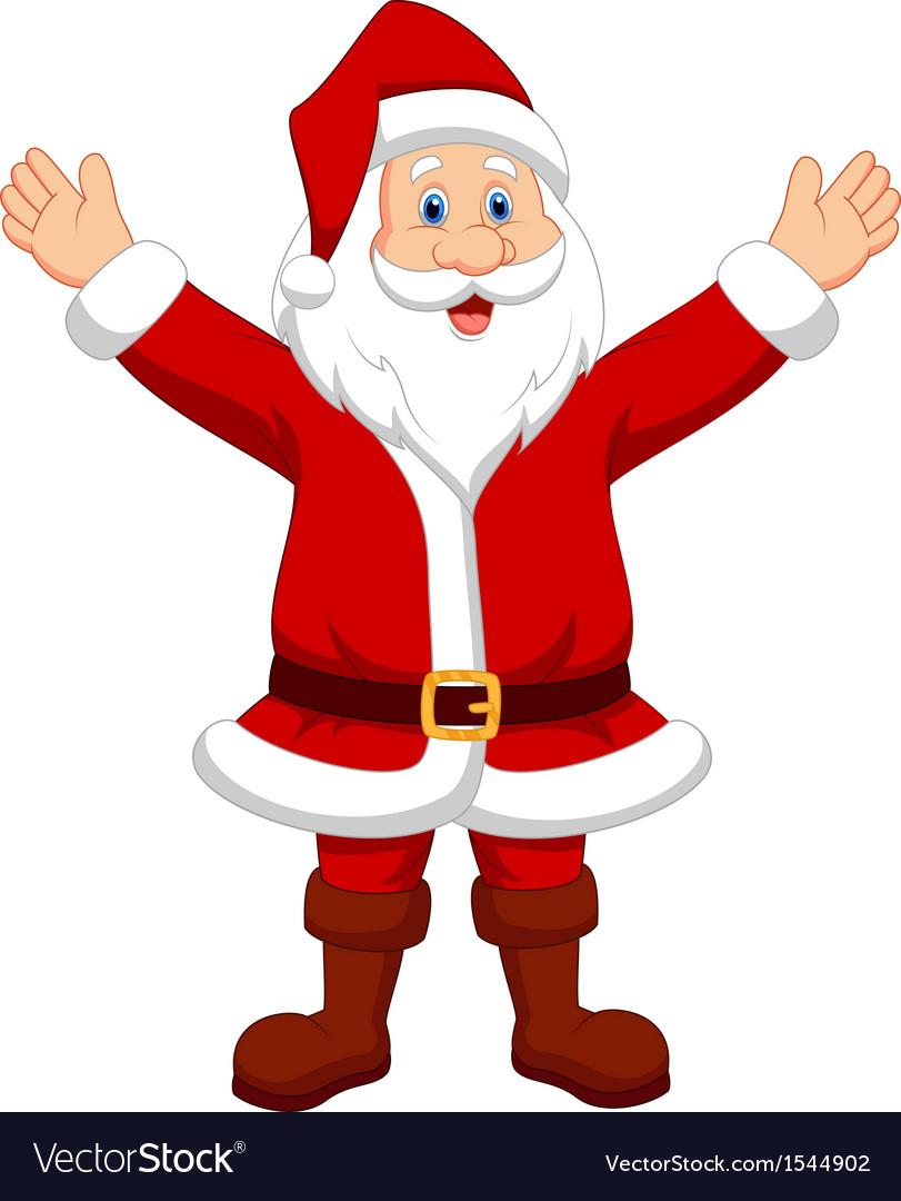 Happy santa cartoon waving hand vector