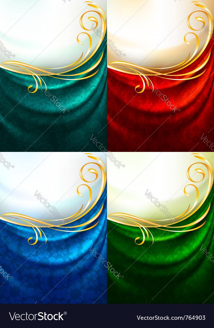 Fabric curtain ornament vector