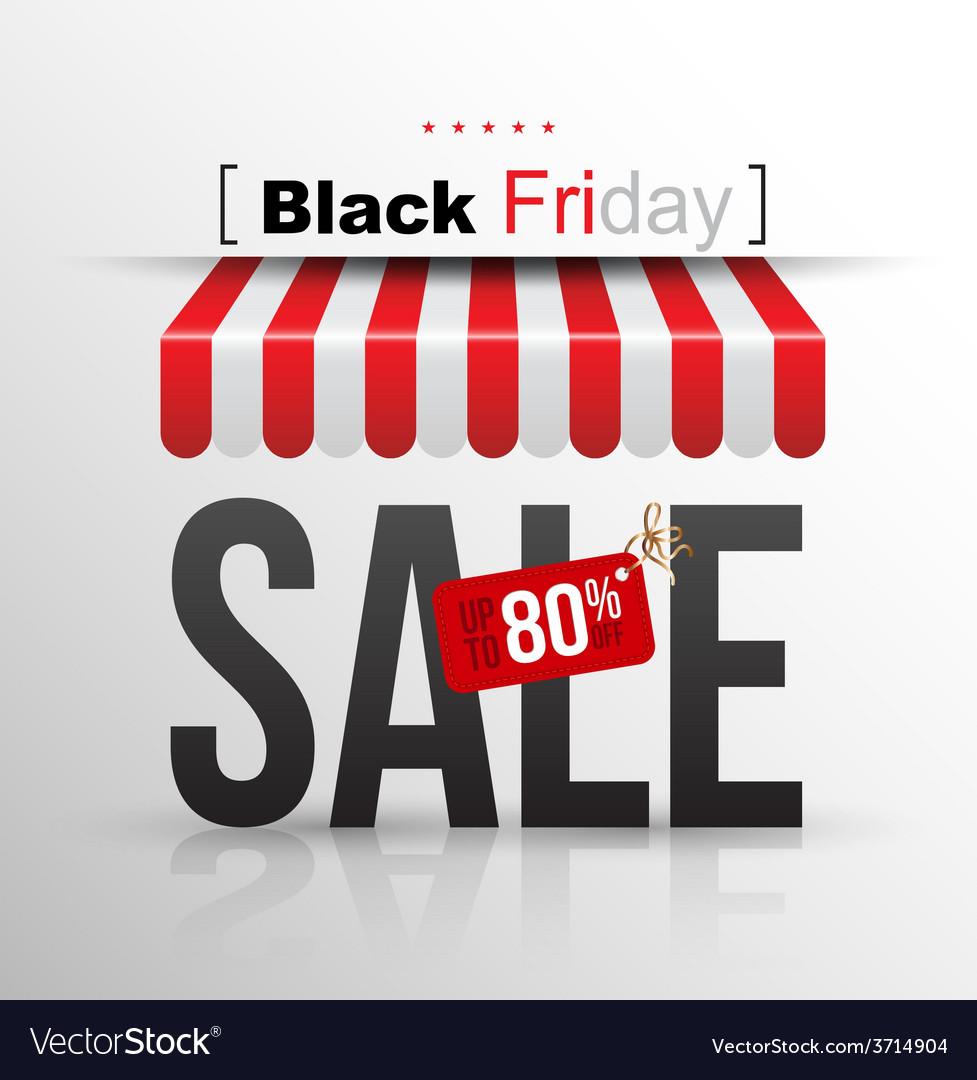 Black friday sale poster with tag banner up to 80 vector