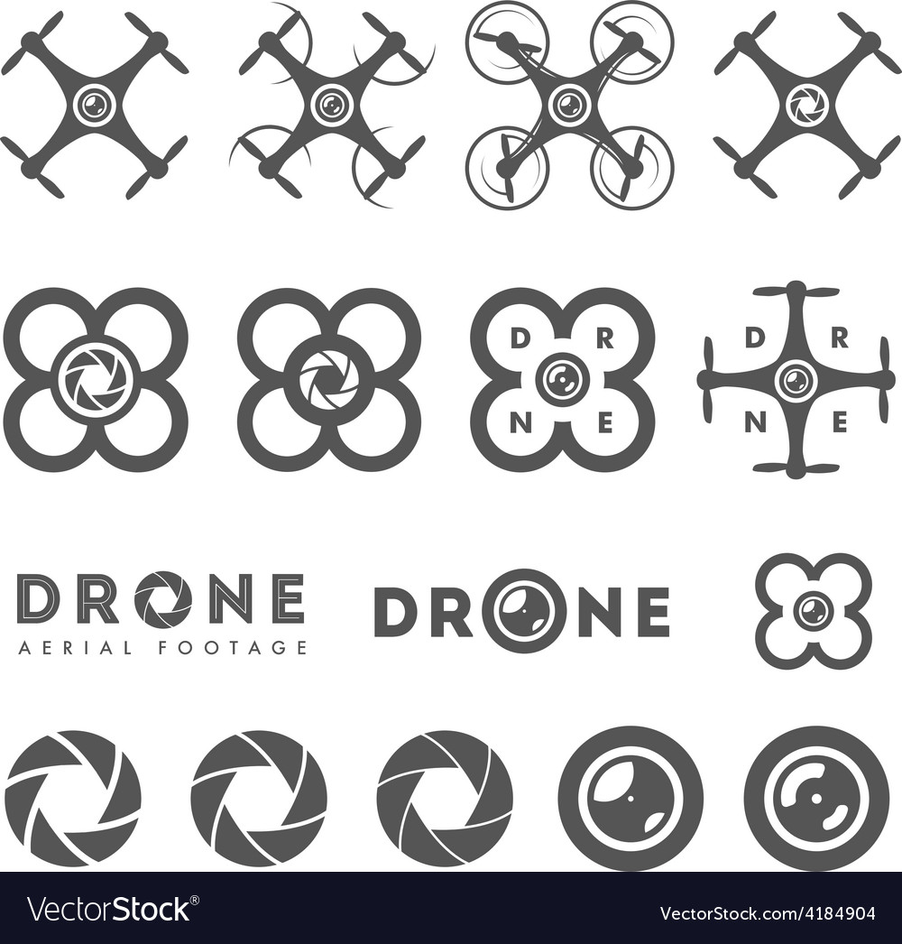 Set of aerial drone footage emblems and icons vector