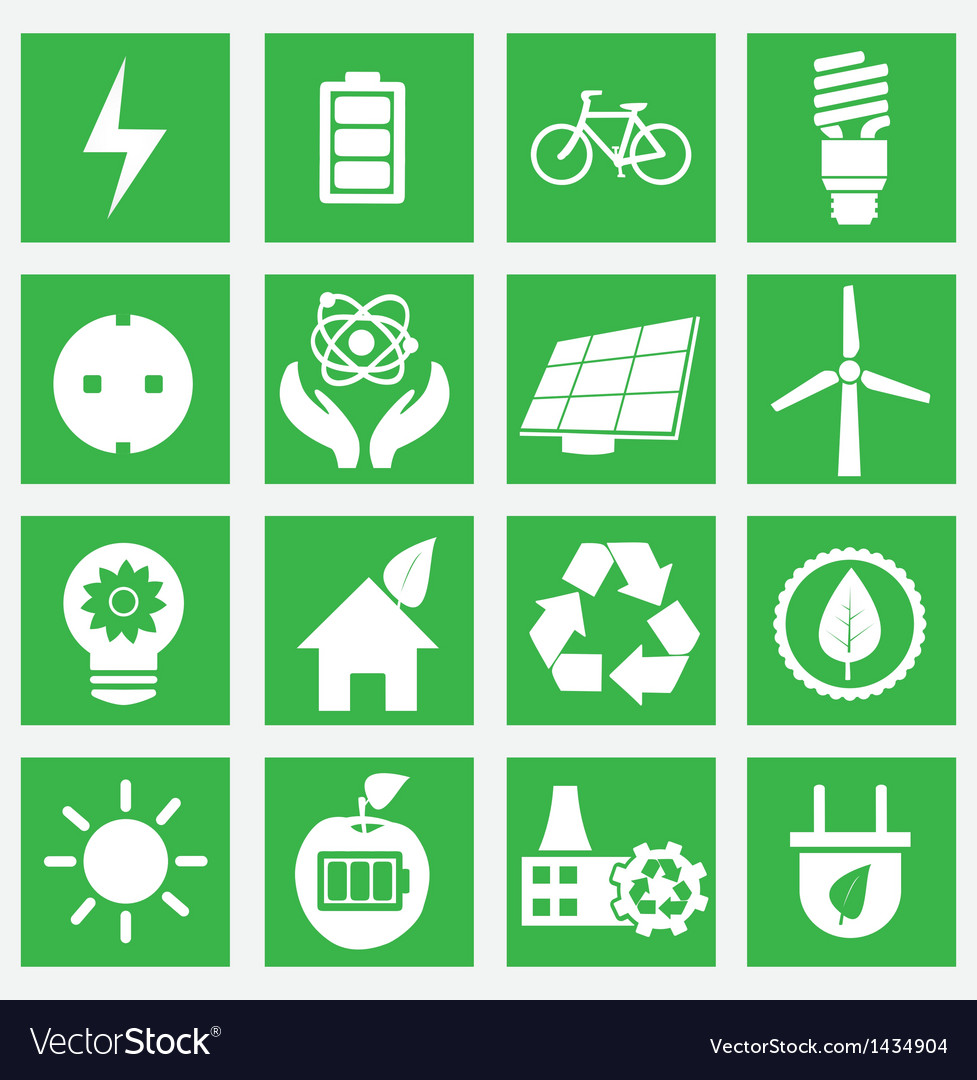 Set of energy saving icons - part 1 vector