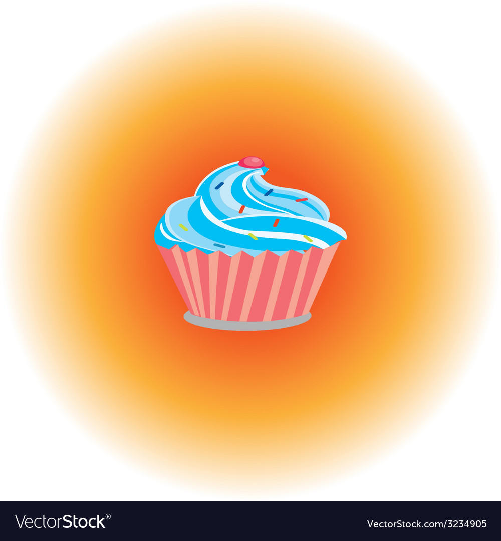 Cream cake with pink cherry vector