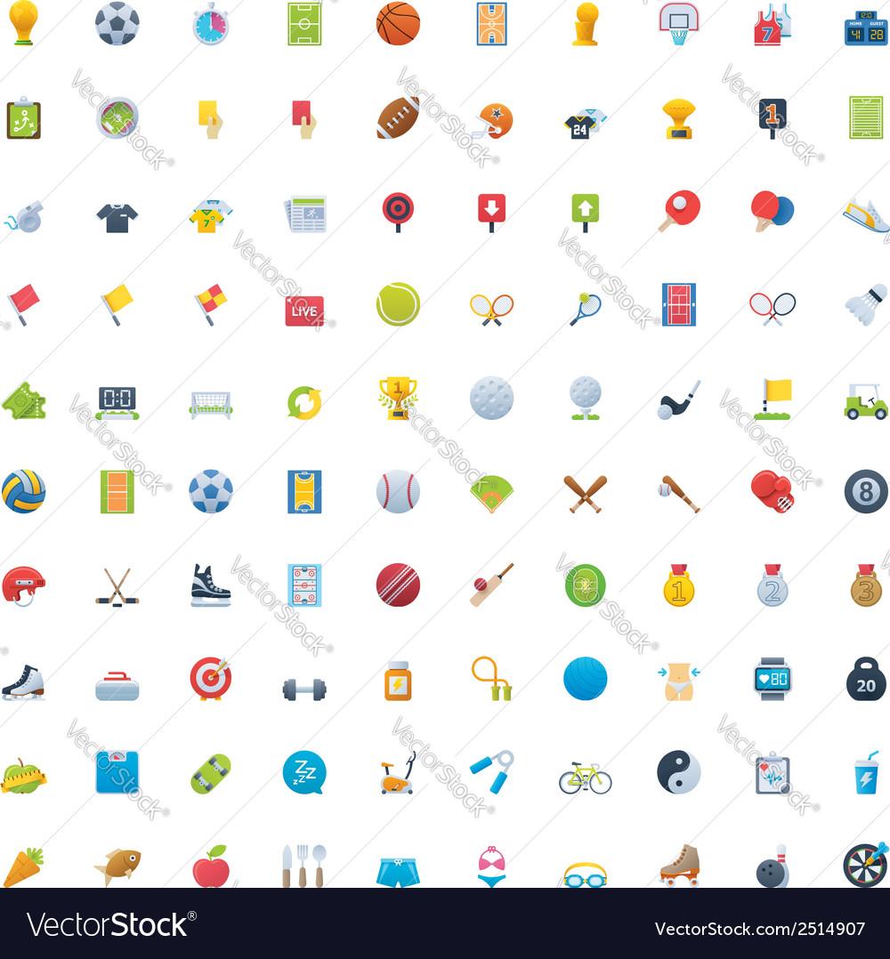 Big sport icon set vector