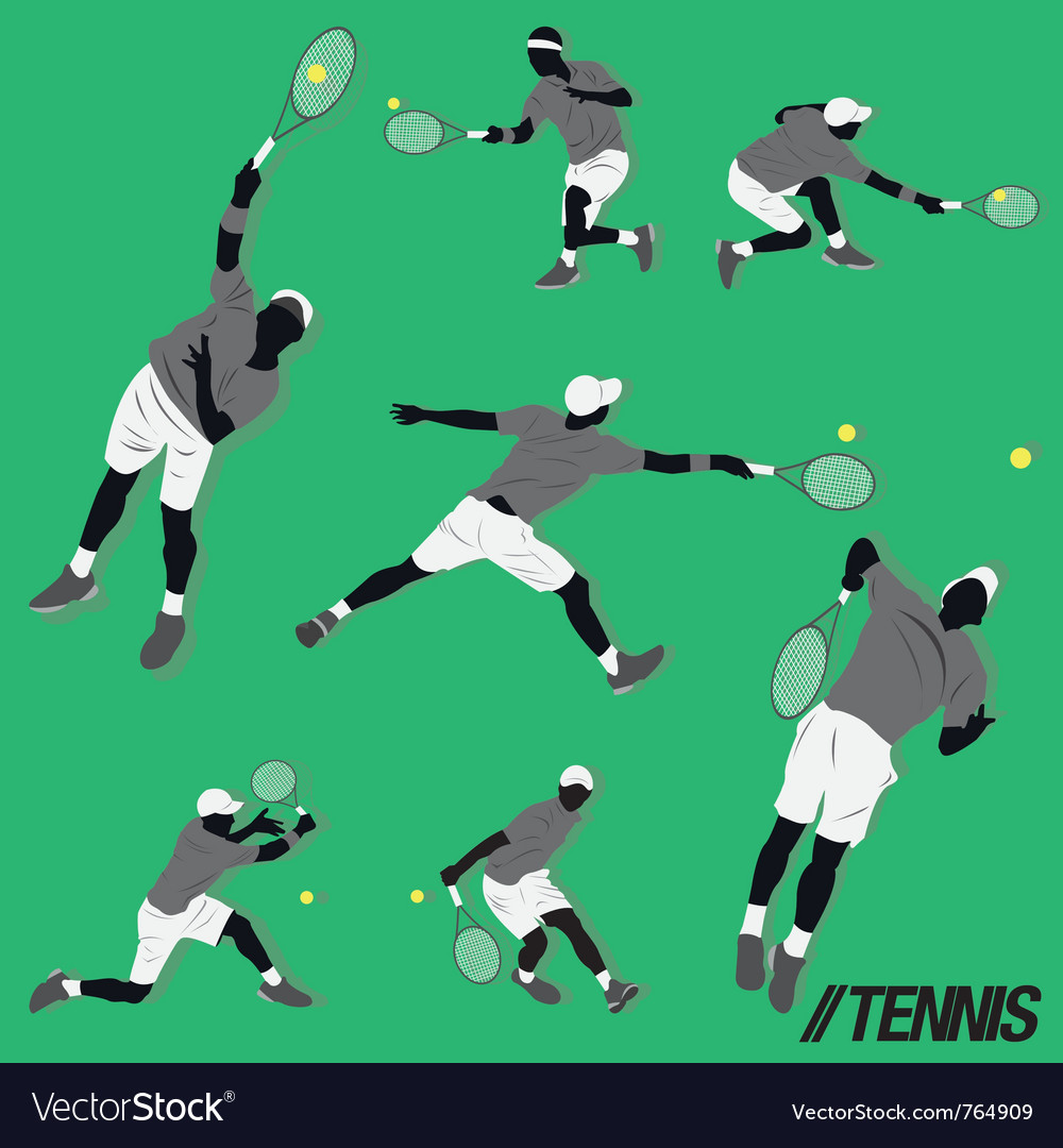 Tennis cool pose vector