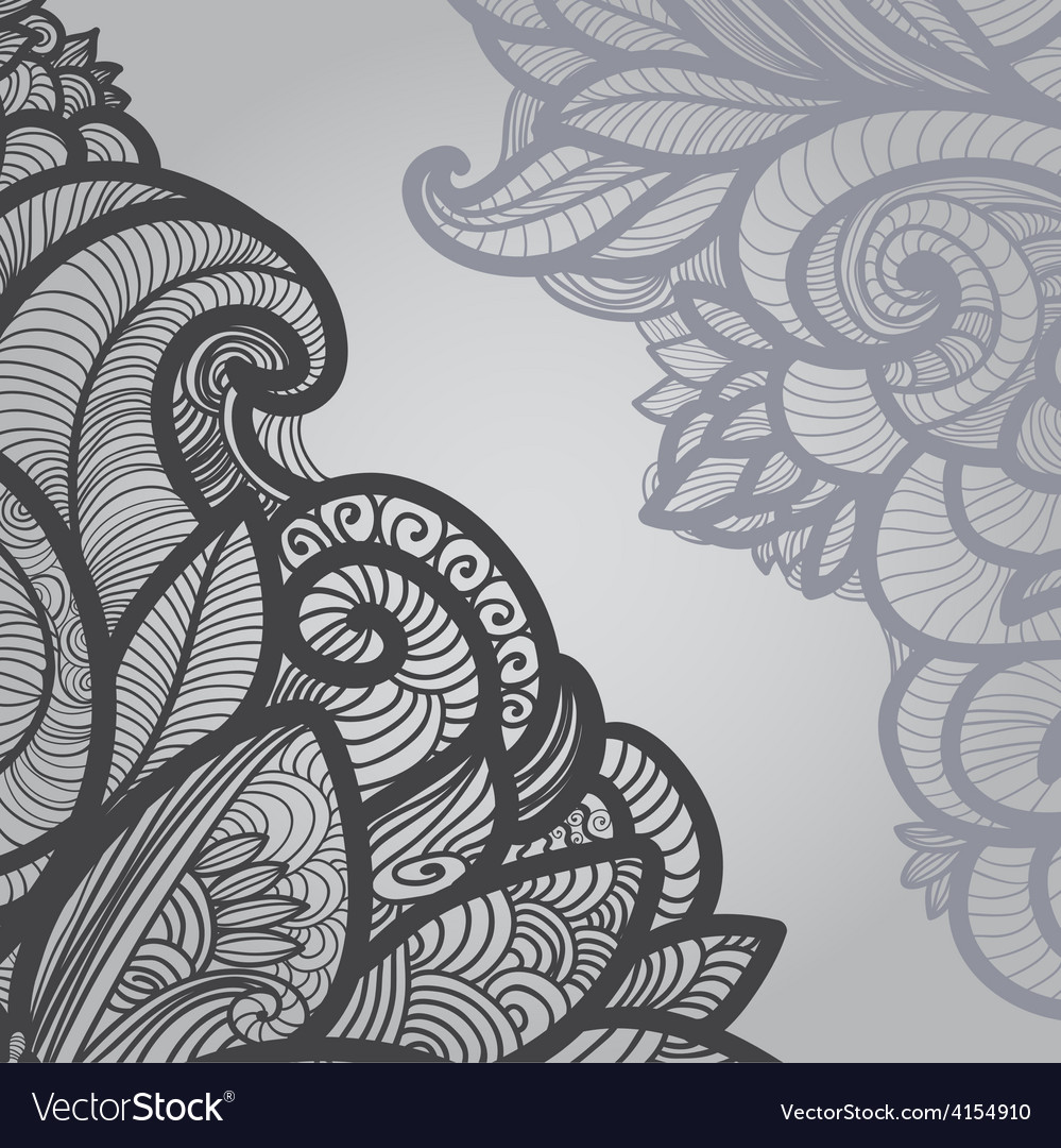 Gray outline floral on light vector