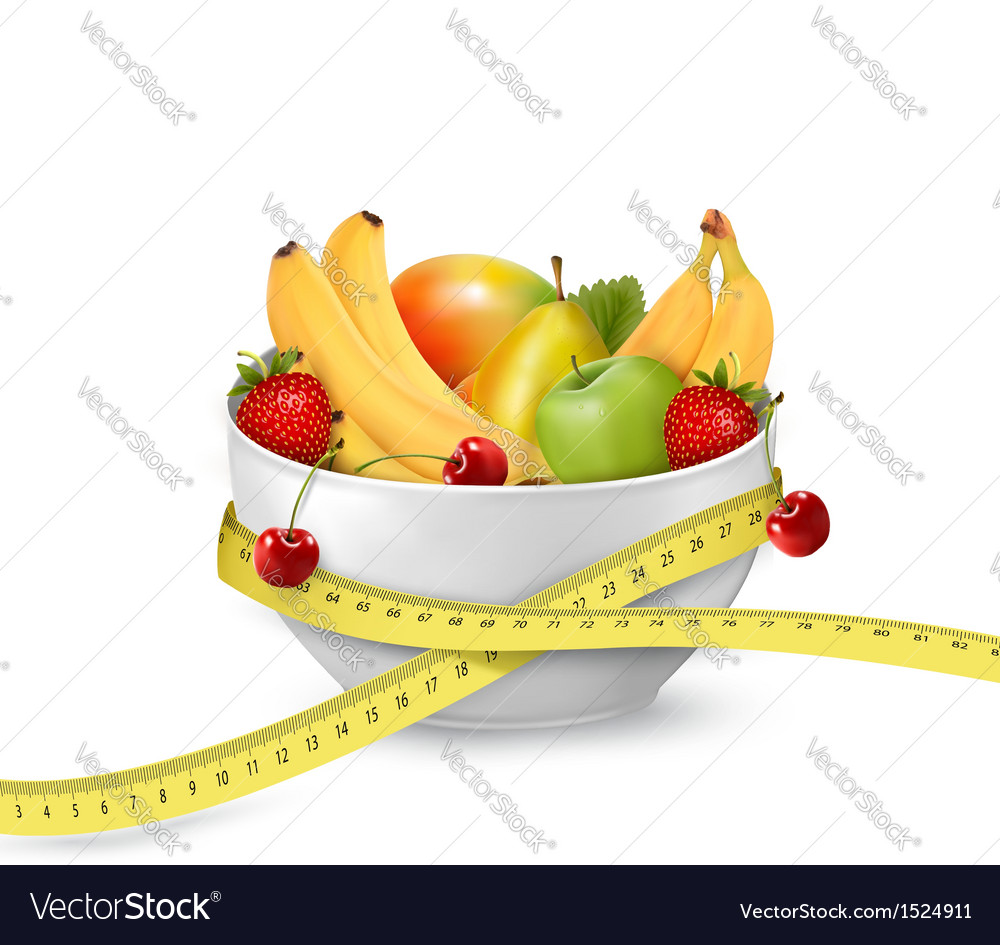Diet meal fruit in a bowl with measuring tape vector
