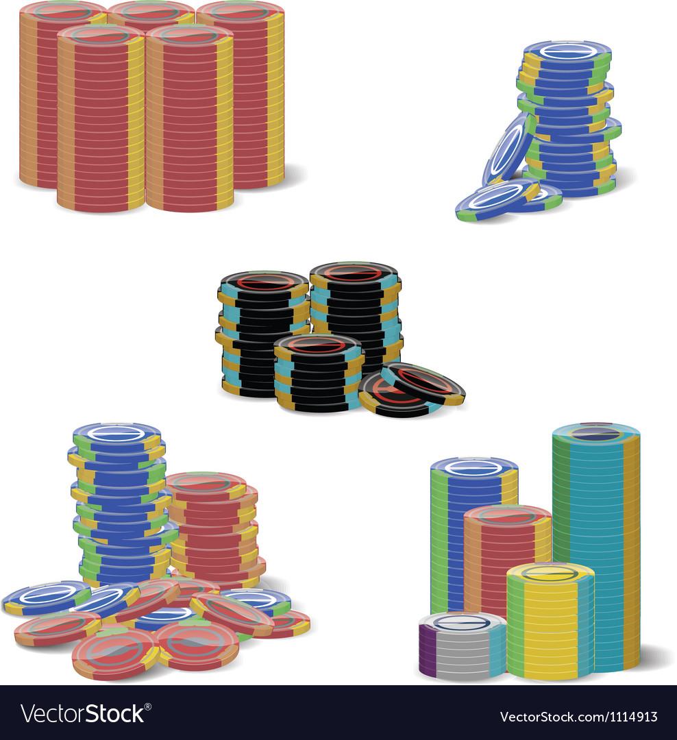 Gambling chip stacks vector
