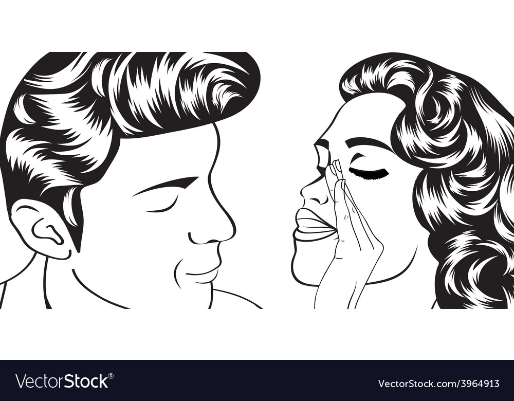 Pop art cute retro couple in comics style vector