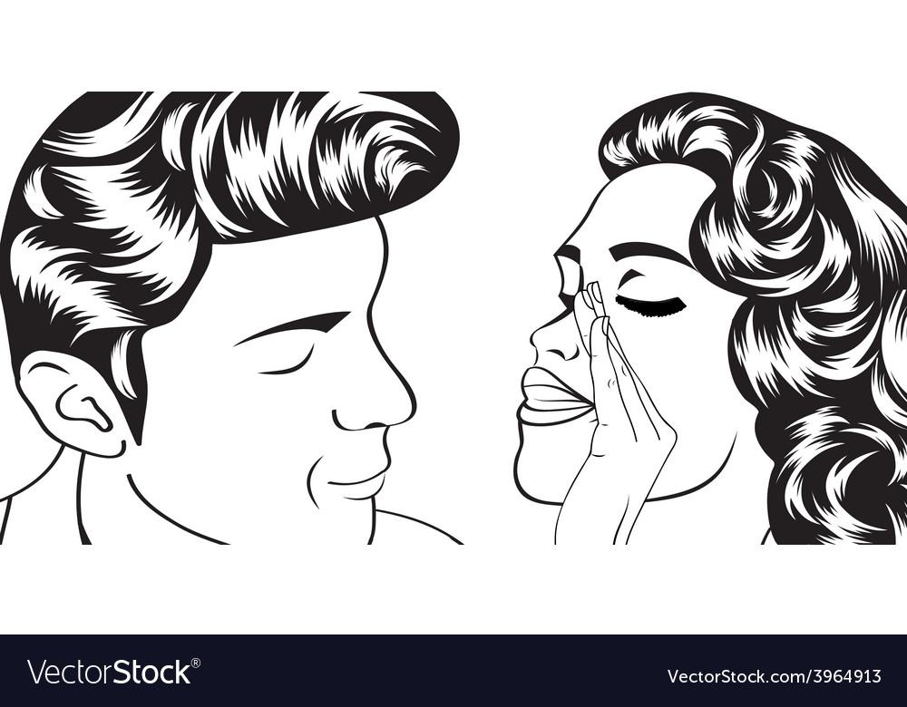 Pop art cute retro couple in comics style vector