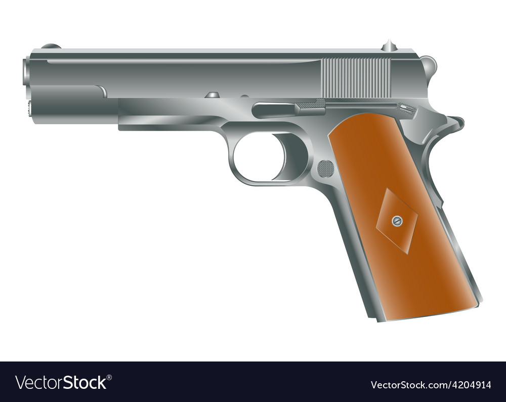 Vintage personal pistol of ww2 times vector