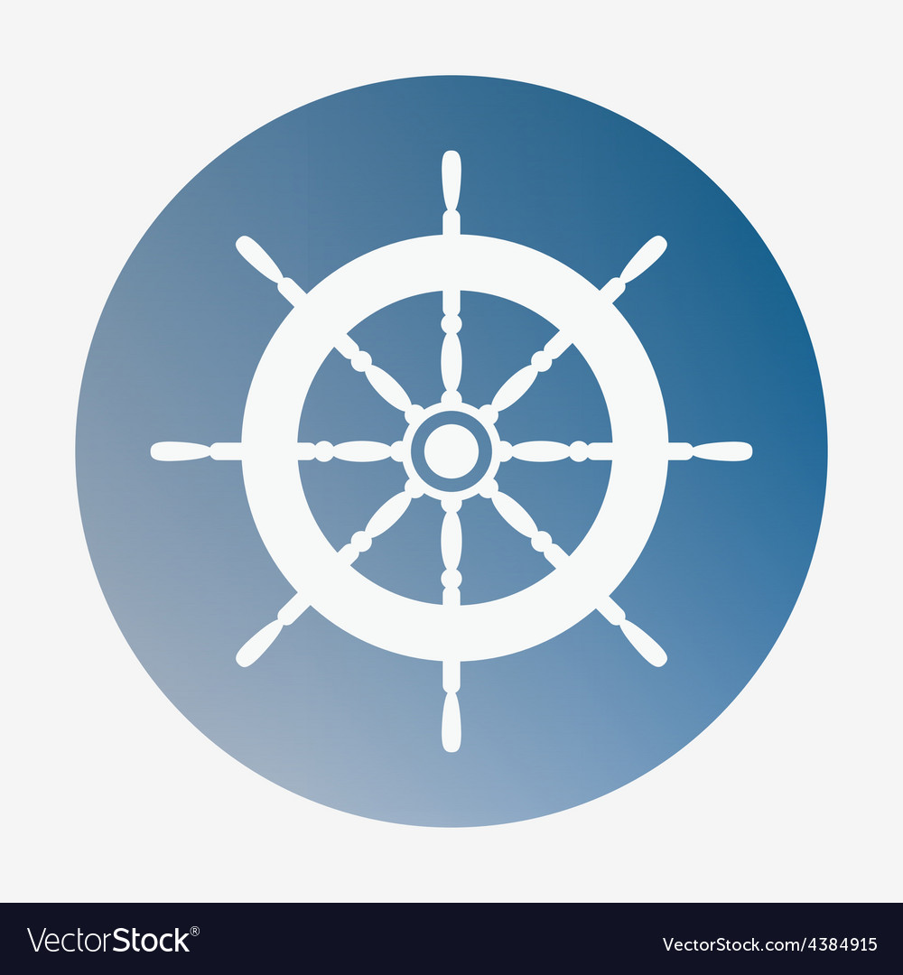 Pirate or sea icon helm flat style vector