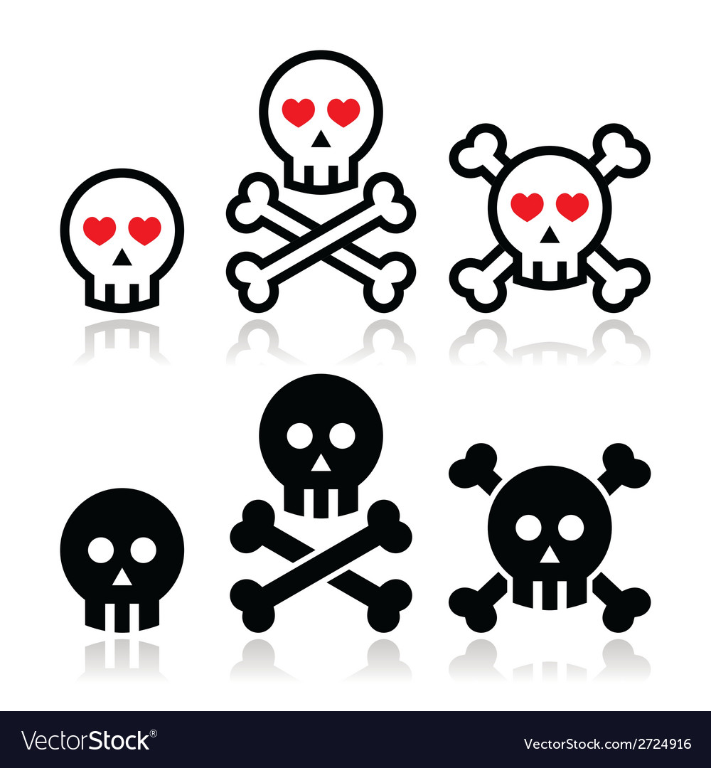 Cartoon skull with bones and hearts icon se vector