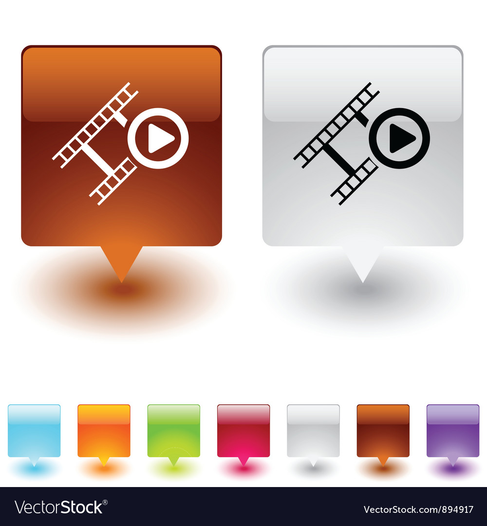 Film square button vector