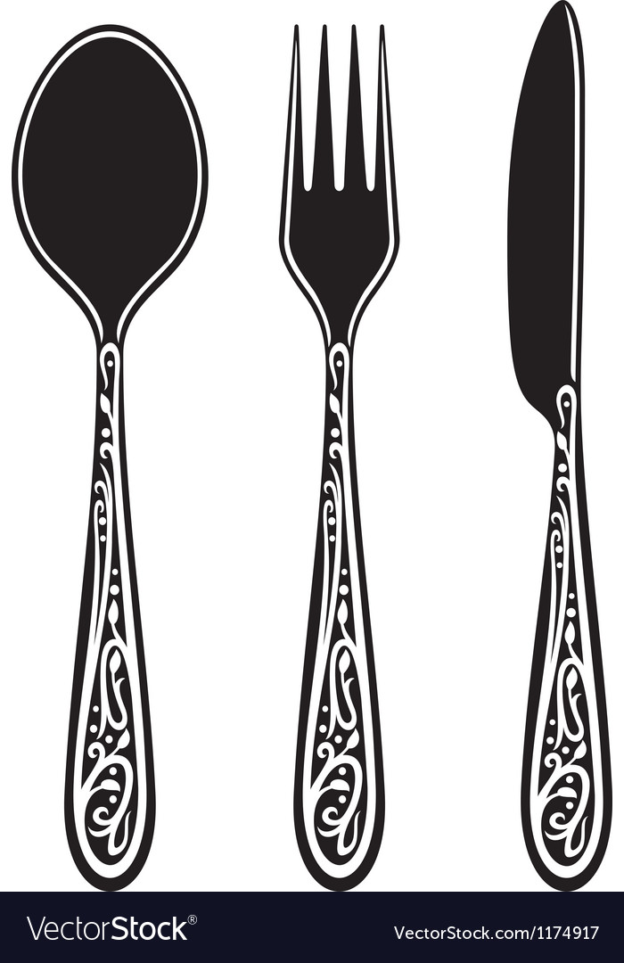 Knife fork spoon with ornaments vector