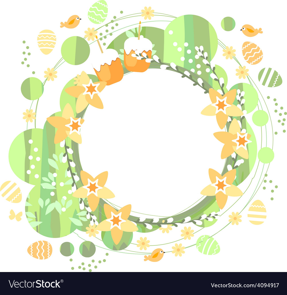 Spring frame with daffodils vector