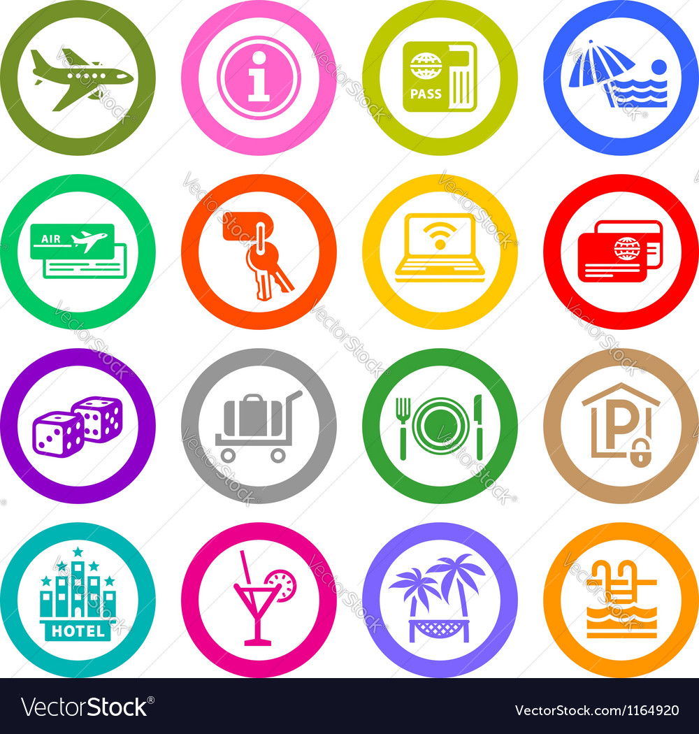 Recreation travel vacation icons vector
