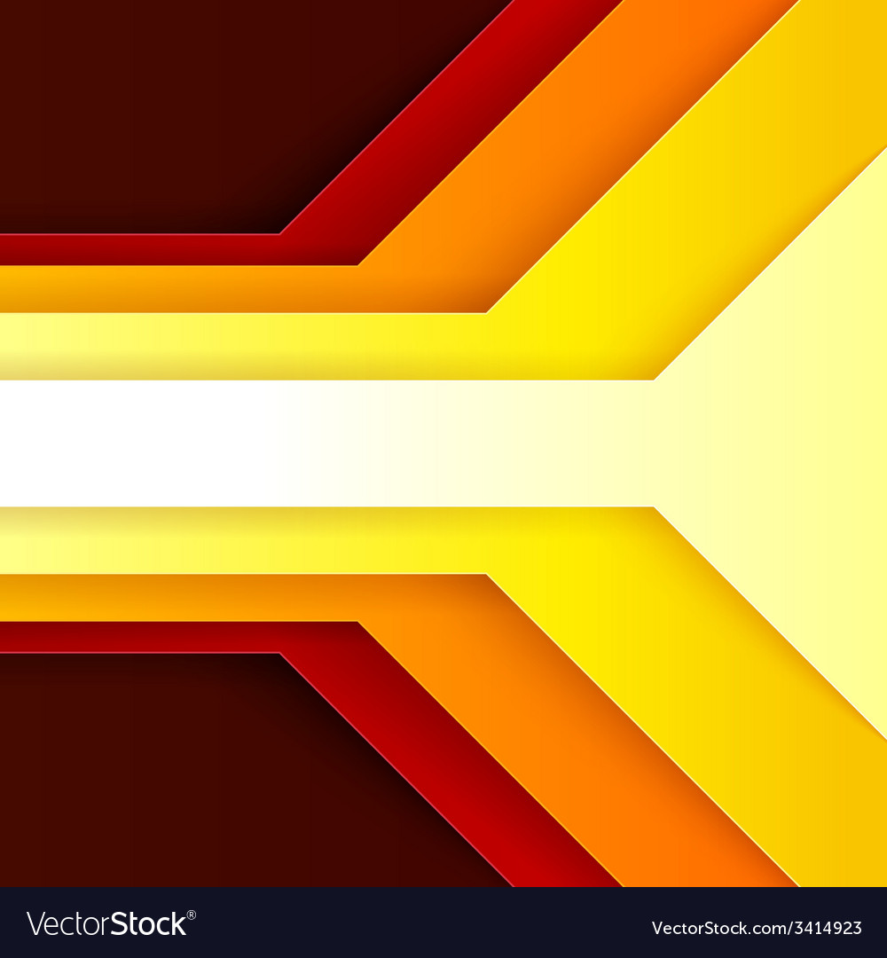 Abstract red orange and yellow paper triangle vector