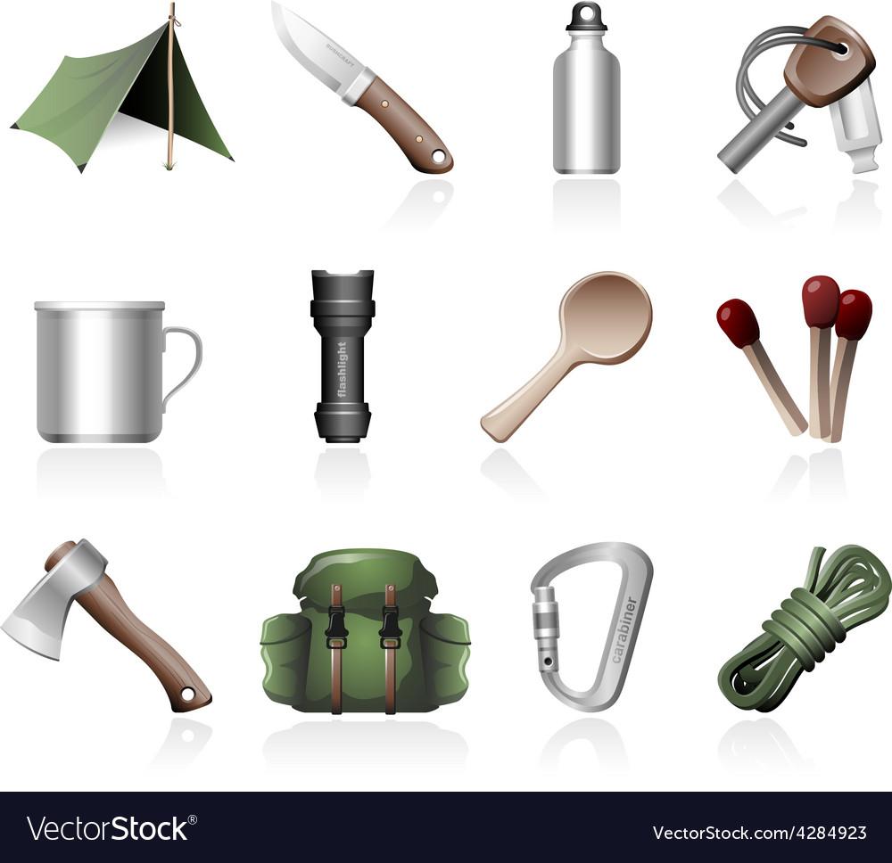 Bushcraft icons vector