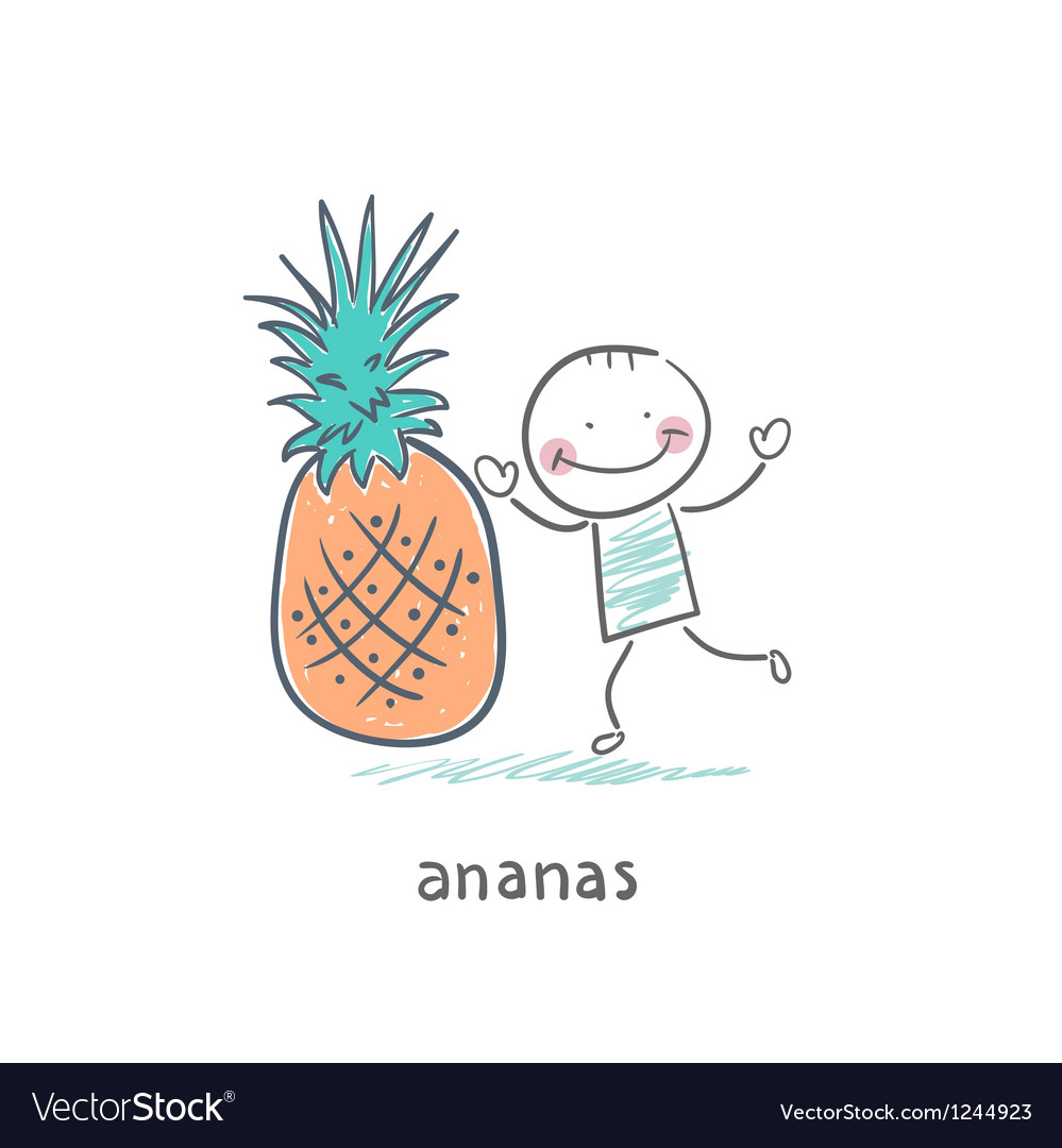 Man and pineapple vector