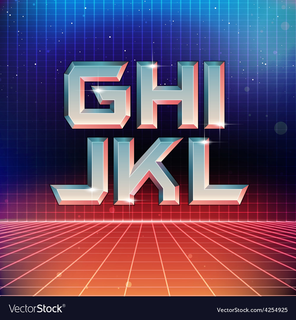 80s retro futuristic font from g to l vector