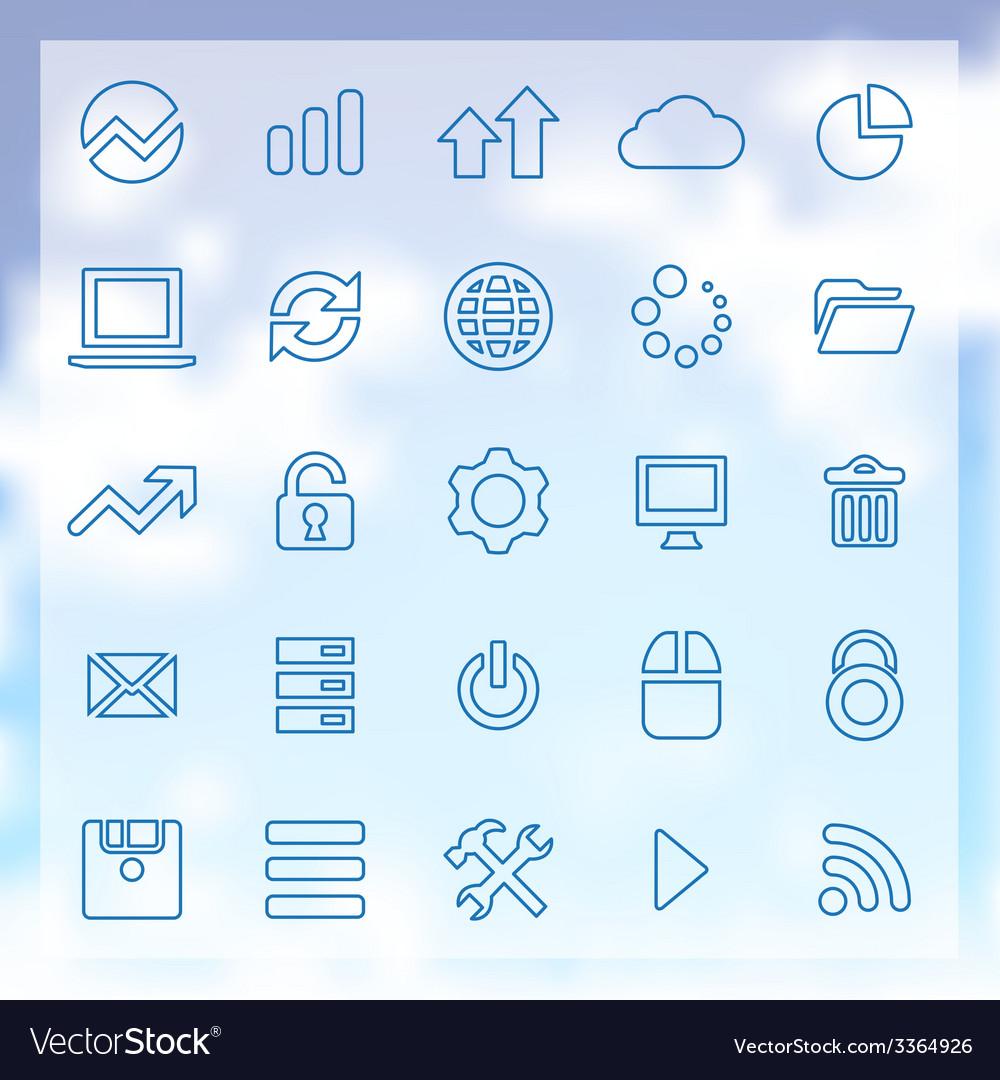 25 big data database icons set vector