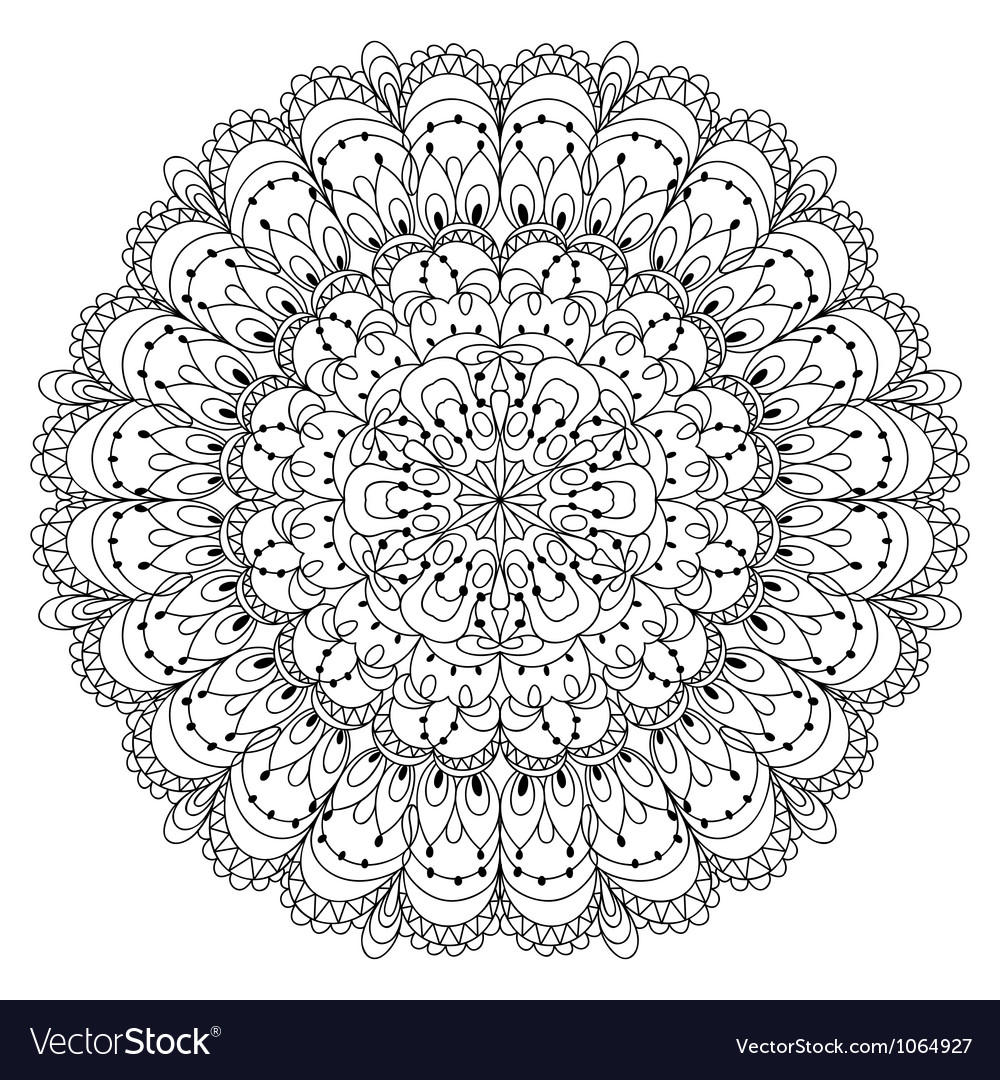 Monochrome black and white lace ornament vector
