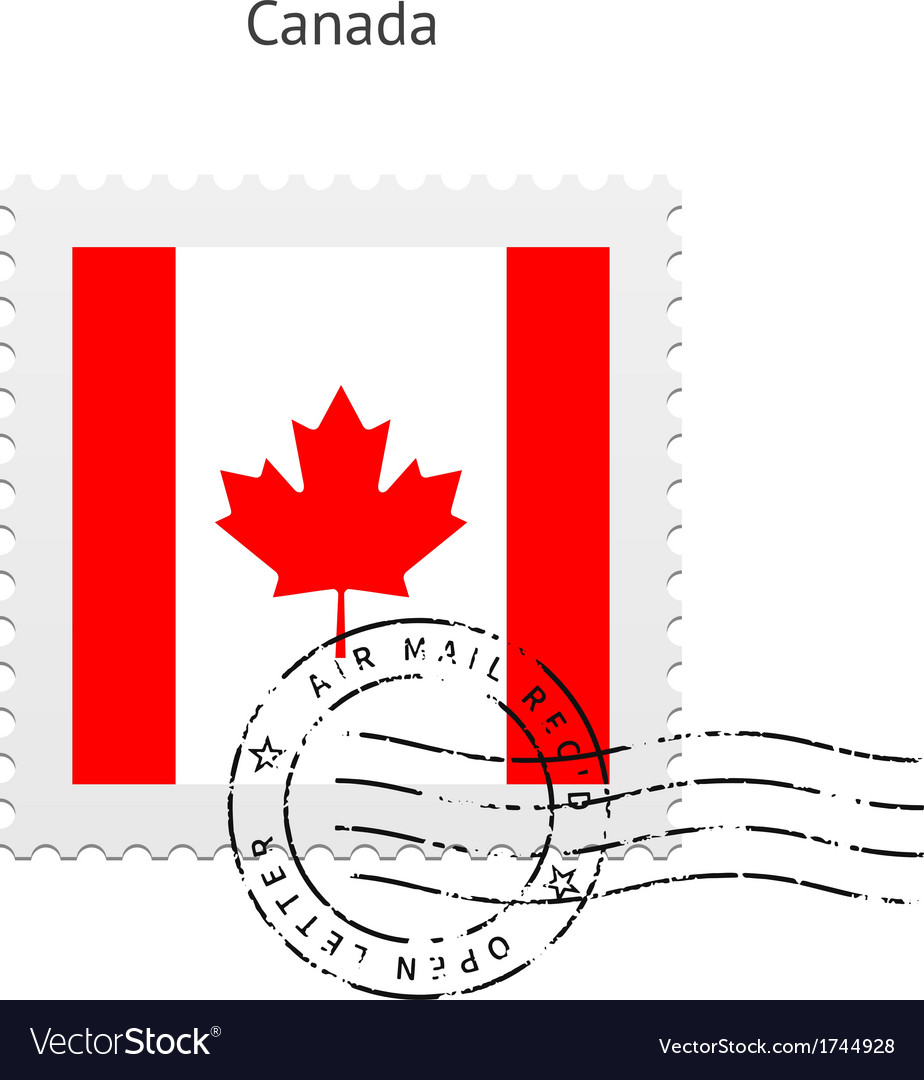 Canada flag postage stamp vector