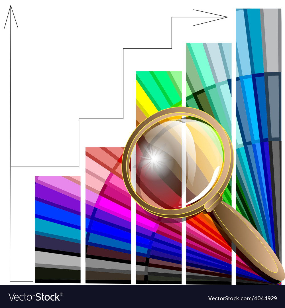 Magnifying glass and color table vector