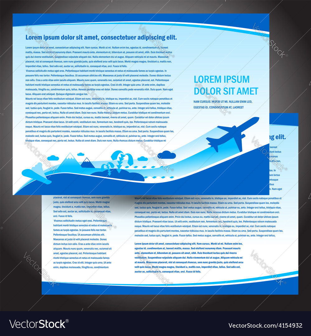 Brochure airplane flight travel air fly airplane vector