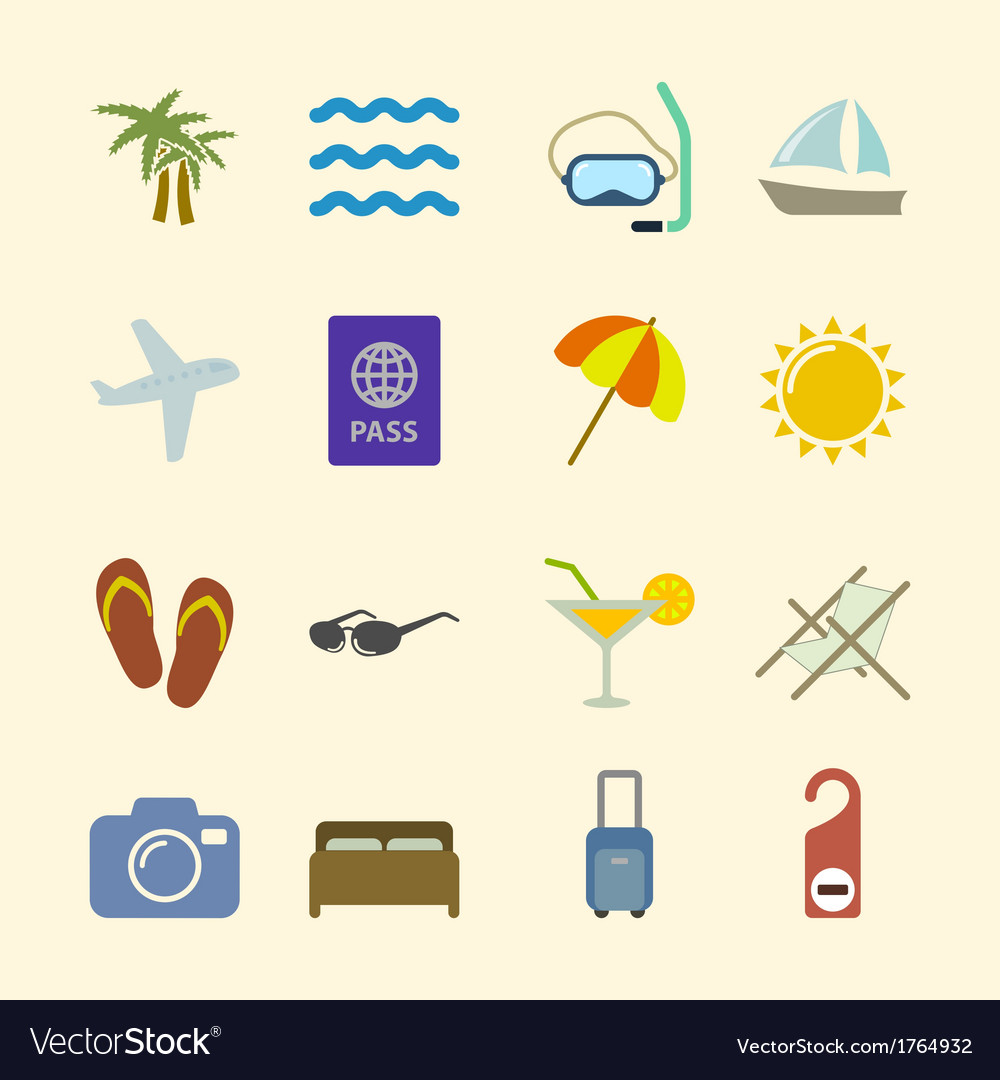 Set of holidays icons contrast color vector