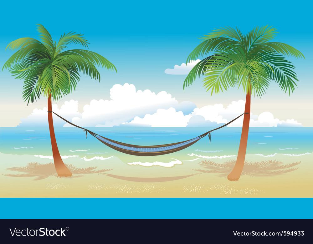 Hammock and palm trees on beach vector