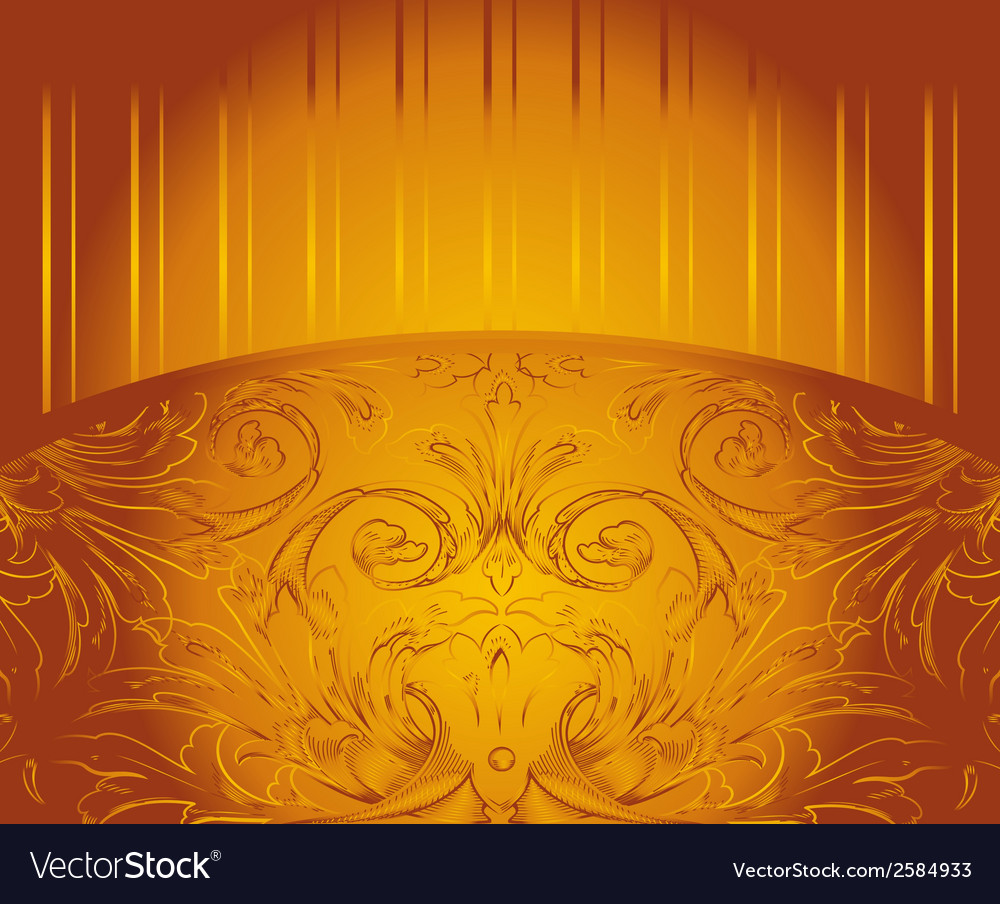 Royal gold invitation card with ornament vector